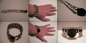 Tab Bracelet With Button 2 by MitranarChaos
