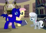 Hovis and Fluttershy giving Silver Spoon a book by AdamAnimationz