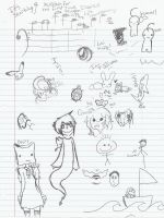 Doodles from a plane trip by Sleepasaur