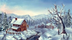 a little house in the snow by yamiooo