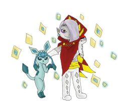 Ghirahim and Glaceon by pokemonpuppy1