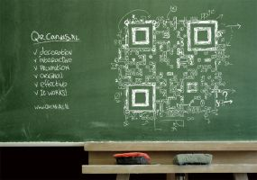 QR code blackboard design Everyting = math by Leconte