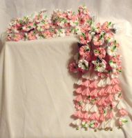 White and Pink Weeping Sakura Kanzashi Set by EruwaedhielElleth