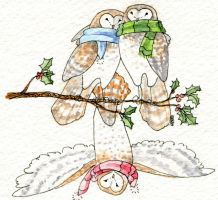 Christmas Owls by Reine-Haru