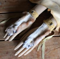New fox and coyote paw handflowers - 3-6-14 by lupagreenwolf