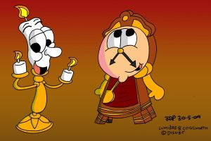 Lumiere and Cogsworth by JimmyCartoonist