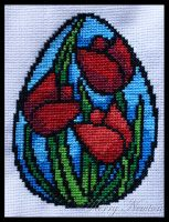 Stained Glass Easter Tulips by KezzaLN