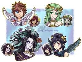 KID ICARUS BUTTON-BADGES -for sale- by shazy