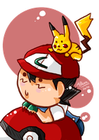Ash and Pikachu 8D by Ariall