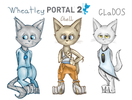 Portal 2 characters as cats by Sitnich