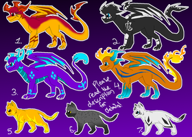 Dragon and Cat Adoptables V3 by Urnam-BOT