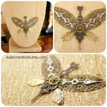 Steampunk Butterfly Necklace by kukochan