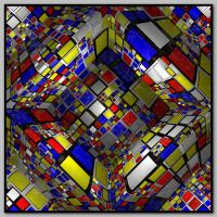 Mondrian cube projection by kronpano