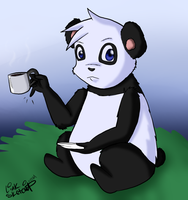 Day 270 - Panda Drinking Tea by LinkSketchit