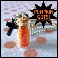 Pumpkin Guts Glitter Jar Necklace Charm by SugarAndSpiceDIY