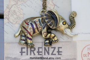 African Elephant Necklace by MonsterBrandCrafts