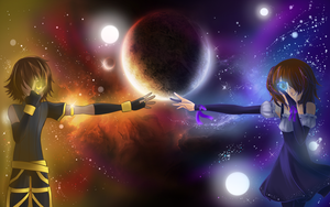 My wallpaper moon and sun by CattyMaddie