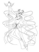 Sailor Cosmos Lineart by silver-eyes-blue