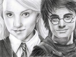 Luna Lovegood and Harry Potter by Tyleen