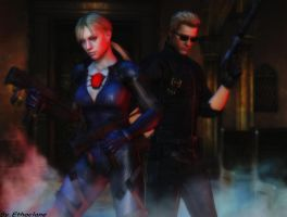 Resident evil wallpaper Jill and Wesker by ethaclane