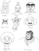 8 Original Characters' Faces by Brady-Kj