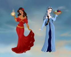 Goddess Marisol and Peasant Emma  by flowerpower71