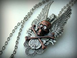 Skull and Wings Gothic Necklace- Silver and Copper by LeBoudoirNoir
