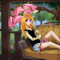 Neopets: Rainy Spring Porch by Yakuun