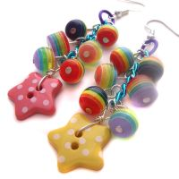 Polkadot Rainbow Star Earrings by fairy-cakes
