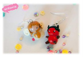 Cute Angel and Devil Earring by arihoma