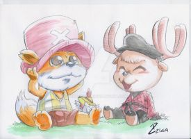 Watercolor CHOPPER and KIPPIL by dekarogue