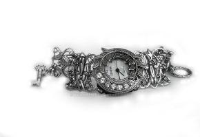 Filigree Watch with Clear Crystals by Aranwen