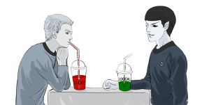 Star trek-Kirk and Spock are Drinking by dosruby