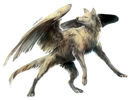 Wolf with wings by Kipine