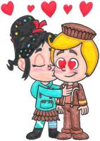 Vanellope Giving Rancis a Kiss by nintendomaximus