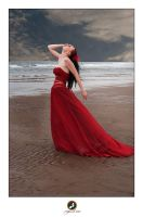 Red Dress Beach II by ChrissieRed