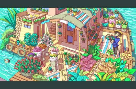 Flower Shop on The Water by CaringWong