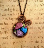 Whimsical Wrap Fused Glass Wire Wrapped Necklace by FusedElegance