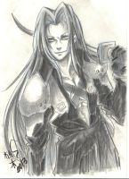 Sephiroth Traditional Art by Ueki2013