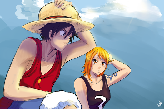 Nami And Luffy Rooftop by lukesChillArt666