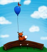 the fox and the balloon by AzZzAeLL