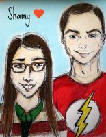 Sheldon and Amy: shamy by cattiovonturtle