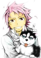 Natsu and the Dog -Coloured- by XiaFei