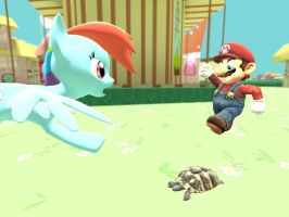 Mario stomps on RD's turtle by ErichGrooms3