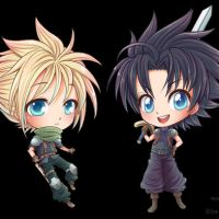 - Zack and Cloud Chibis Blinking! - by hyacinthess