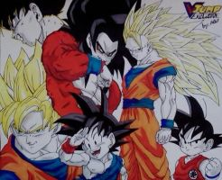 Goku Collage VJump Exclusive by WatersDBZArt
