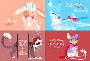 Lineless christmas card set by Fayven