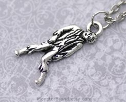 Silver Zombie Necklace by MonsterBrandCrafts