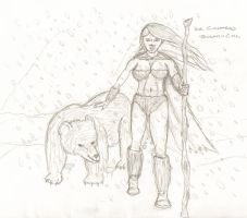 Ice Giantess BW - January by Anararion