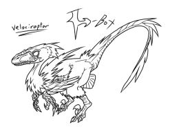 Velociraptor Lineart by H-Box